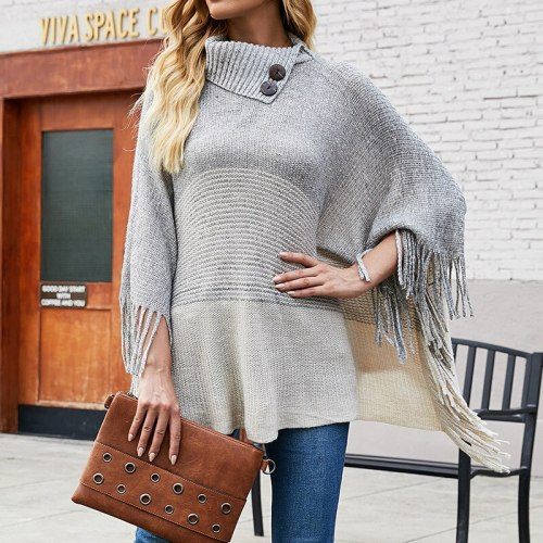 2021 autumn and winter European and American fringed cloak shawl sweater half open collar contrast color sweater women