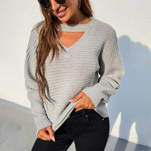 Quanss Autumn And Winter Women's Sweaters Fashion Hollow Out Pullover Female Long Sleeve Casual Knitwear Solid Jumper Knit Top