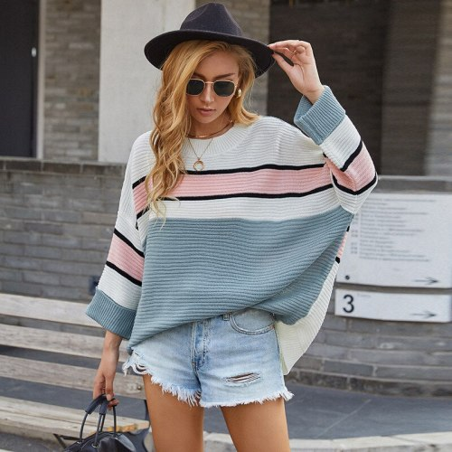 Autumn Women Sweater Pullovers New O-Neck Long Bat Sleeve Loose Striped Patchwork Pullovers Female Sweater