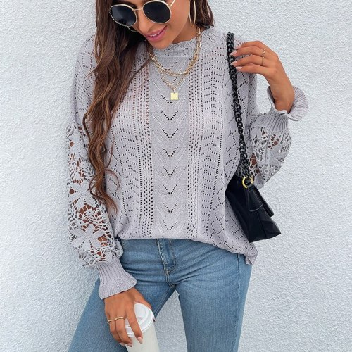 Spring Autumn Lace Hollow Out Long Sleeve Black Kniited Sweater Women's 2021 Knitwera Fashion Loose Pullover Female Pull Tops