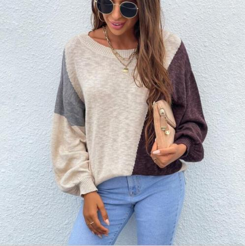 Women Sexy Off Shoulder Sweater Pullover Long Sleeve Sweaters Autumn Irregular Color Matching Sweater Jumpers Knitwear Sweaters
