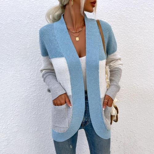 Long Sleeve Sweater Cardigan Women 2021 Fashion Striped Print Open Front Casual Autumn Winter Knitted Cardigans Tops