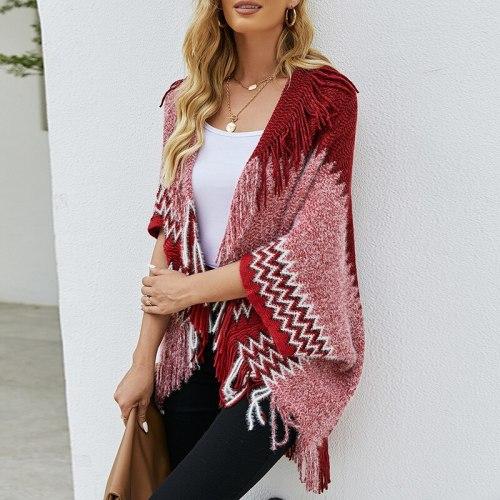 Women Knitted Winter Warm Sweater Cardigans Tassel Fringe Shawl Poncho Cardigan Jackets Coats Capes Poncho cloak shawls cape