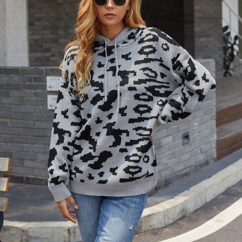 Cross-border sweater women 2021 new sweater leopard print drawstring hooded sweater