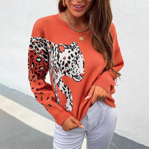 Chifirena Korean Style Autumn Sweater Women Knitwear Leopard Winter Jumper Mujer Loose Kawaii Long Sleeve Knitted Pull Sweaters