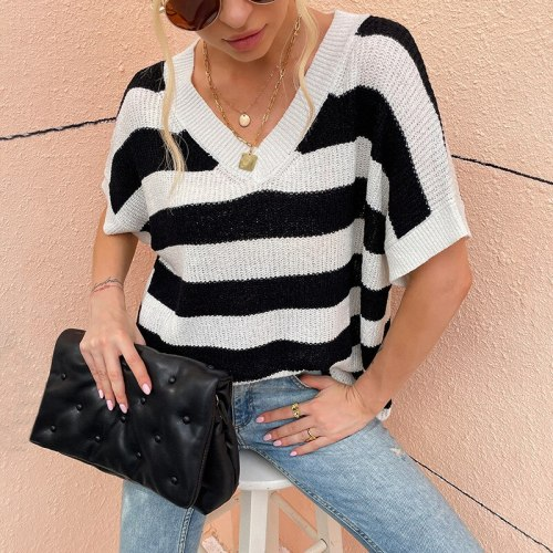 Women Sweater Striped Print V Neck Knitted Casual Loose Top Female Short Sleeve Fashion Pullovers Lady Jumper