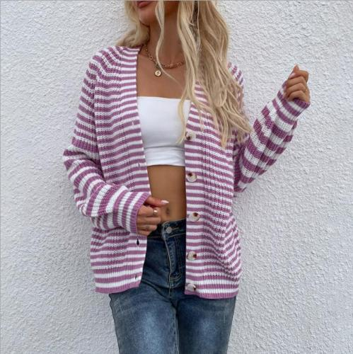 Long Sleeve Cardigan Women Knitted Sweater Autumn Winter V-Neck Warm Ladies Button Tops Fashion Casual Patchwork Pullover 2021