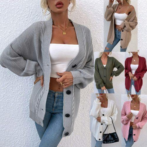 Women's twist cardigans 2021 autumn winter balck grey knitted cardigan midi long button sweater women's vintage sweater jacket