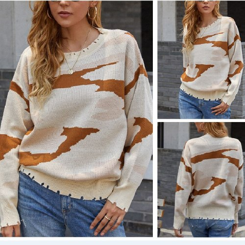 Crewneck Sweater Women's  2021 Autumn/Winter New Hand-cut Hole Tassels Long-sleeved Thick Camouflage Knit Sweater Top