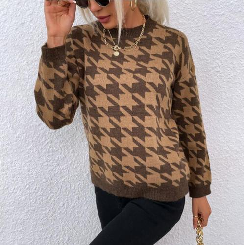 Sweater Women Pullover Knitted Geometric Khaki Female Lady Jumpers Houndstooth Long Sleeve Casual Autumn Winter Vintage Sweaters