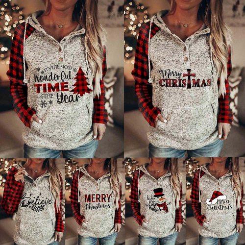 Women Casual Christmas Hoodie Long Sleeves Buttons Collar Pockets Sweatshirt Elk Print Pullover Tops