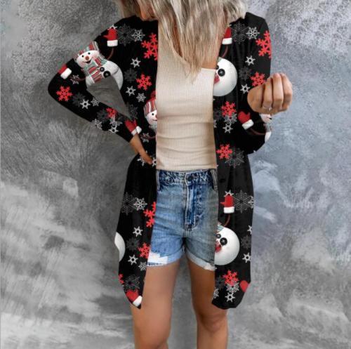 2021 Autumn winter new women cardigan Christmas Digital Printing sweater cardigan women Casual Long Sleeve Long Cardigan New