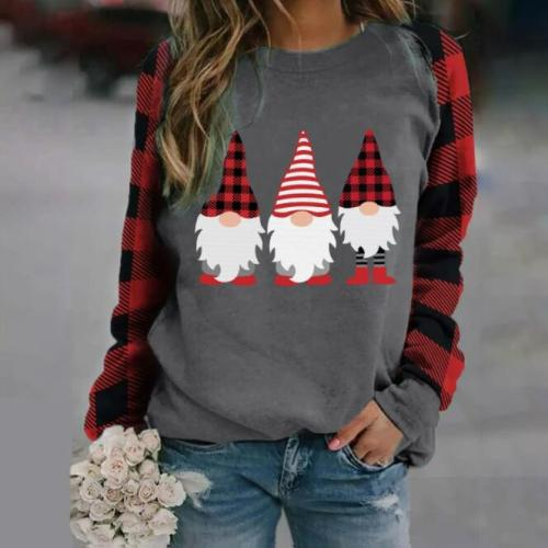 Womens Christmas Sweater Top Long Sleeve Lattice Stitching O-Neck Pullover Santa Claus Print Sweatshirt Blouse Christmas ClotheS