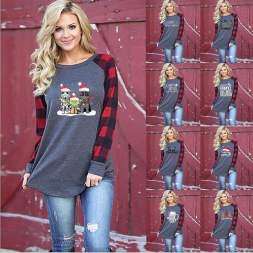Women O-neck T-shirts Christmas Plaid Long Sleeve Gnome Print Casual Top Outdoor T-shirt Oversize Tee Shirts