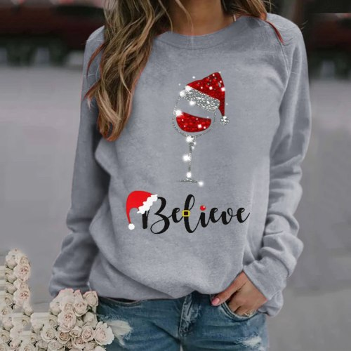 Christmas 2021 woman sweaters Print Long-sleeved  Casual   Pullover winter clothes women