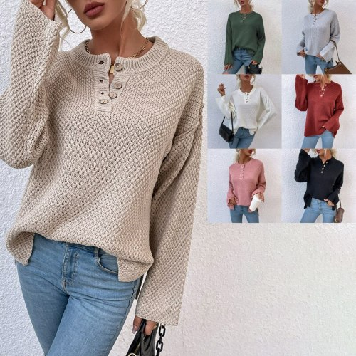 Round neck button cardigan sweater women autumn/winter split knit sweater single-breasted solid white khaki long sleeve pullover