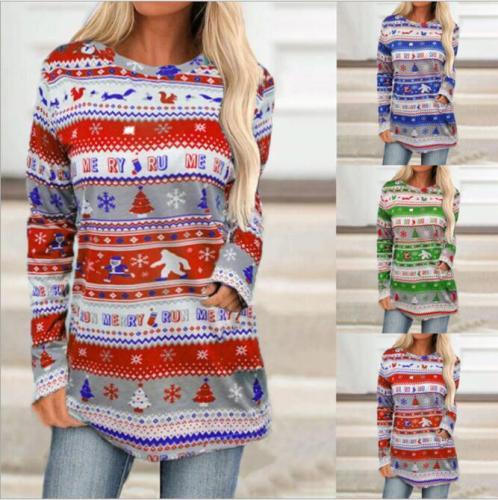 2021 Autumn Women Fashion Christmas Reindeer Snowflake Print Long Sleeve Dress Winter Long Sleeve Round Neck Mini Bodycon Dress