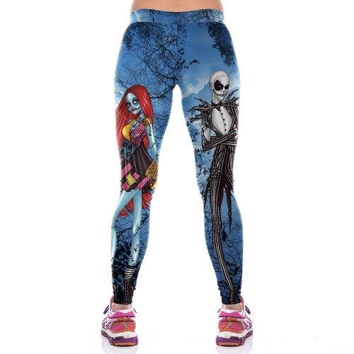 Happy Halloween Women's Party Leggings Skeleton Character Print 3d Legins Female High Elastic Waist Band Slim Fitness Leggings