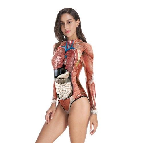 Human Anatomy Body One Piece Jumpsuit for Women Summer 2021 Long Sleeve Bodysuit Unique Science Teacher Body Suit Romper Clothes