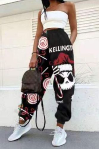 Women Fashion Skull Pattern Print Patchwork Pants Autumn Elastic Waist Pocket  Sport Trouser Casual Streetwear