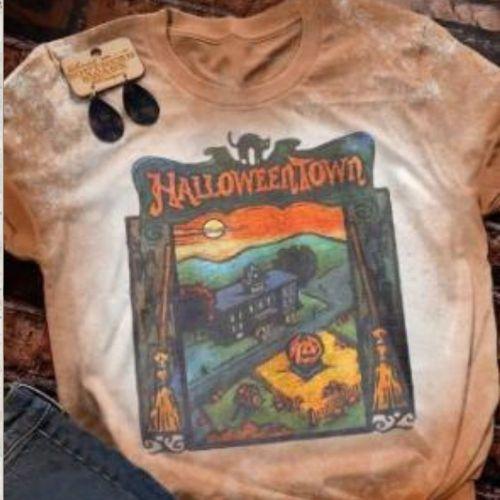 Harajuku Aesthetic Graphic Tees Halloweentown Halloween Vintage Hip Hop T Shirt Oversized Tshirt Streetwear Summer Teeshirt Tops