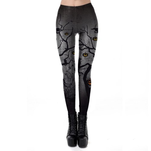 Halloween Pumkin Fashion Leggings Dark Crow Night Fitness Clothing For Women Legging High Waist Ankle Pants