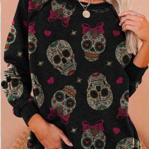 Women Hoodies Funny Sugar Skull Printing Long Tops Soft Spring And Autumn Harajuku Sweatshirts Hot Sales Clothing