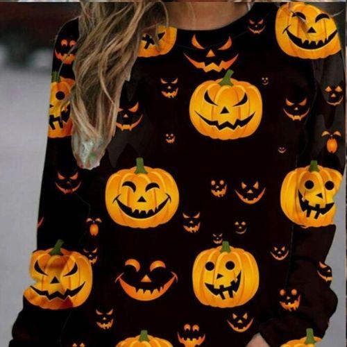 Women Halloween Hoodies Skull Print Pullover Skeleton Sweatshirt Tops 2021 Autumn Long Sleeve Cartoon O Neck Pullover Sweatshirt