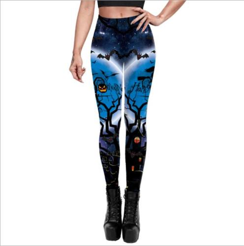 Halloween Cosplay For Women Skull 3D Printed Sexy Slim Workout Leggings Fitness Trousers 2021 Plus Size Pants