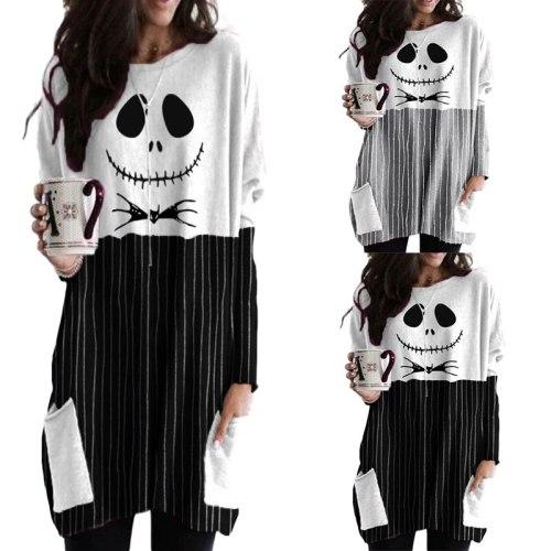 New autumn and winter Halloween fashion ladies cartoon print round neck long sleeve T-shirt stitching pocket ladies dress