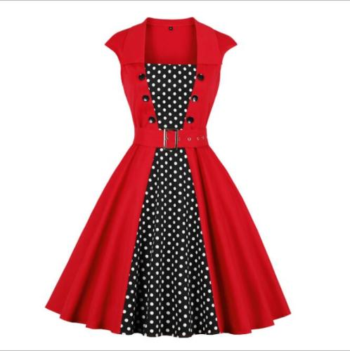 Elegant Women Dress Summer Vintage Clothes Red Polka Dot Patchwork Cotton Robe Pin Up Swing Retro Dress With Pockets