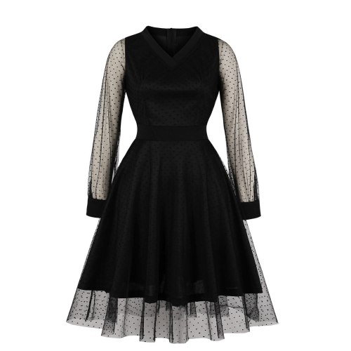 Black V Neck Long Sleeve Dotted Mesh Overlay Midi Dress Spring Autumn Women High Waist Elegant Party Robe Vintage Pleated Dress