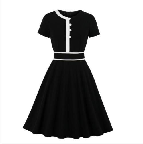 Short Sleeves Button Up Decor Women Dresses  Solid Vintage Dress Female Black And White Color Contract Dress