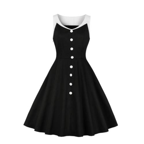 Tonval Women Single-Breasted Buttons Black Patchwork Vintage Rockabilly 50s Dress 2021 Summer Sleeveless Cotton A-Line Dresses