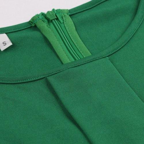 Tonval Green Contrast Guipure Lace Hem Solid Pleated Midi Dress Women Long Sleeve Autumn Winter High Waist Vintage Dresses