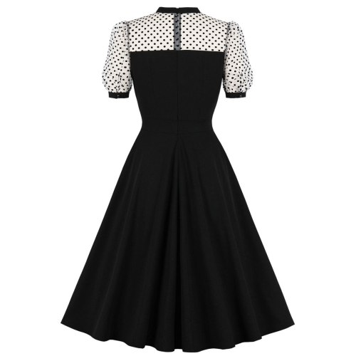 Style Retro Plus Size Women Gothic Tunic Dresses Black Casual Party Mesh Patchwork Robe Rockabilly  Swing Dress 2021