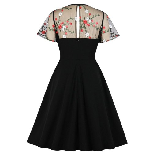 Floral Women Short Party Dress Black Slim Fit Sundress Mesh Short Sleeve A Line Swing 60s Rockabilly Summer Dresses