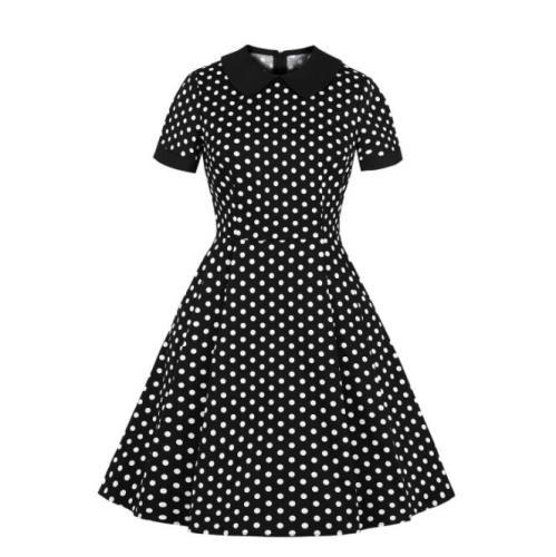 2021 New Polka Dot Doll Collar Female Slim Fit Hepburn Retro Dress Round Neck Short Sleeve Mid-Waist Dress Fashion Elegant Dress