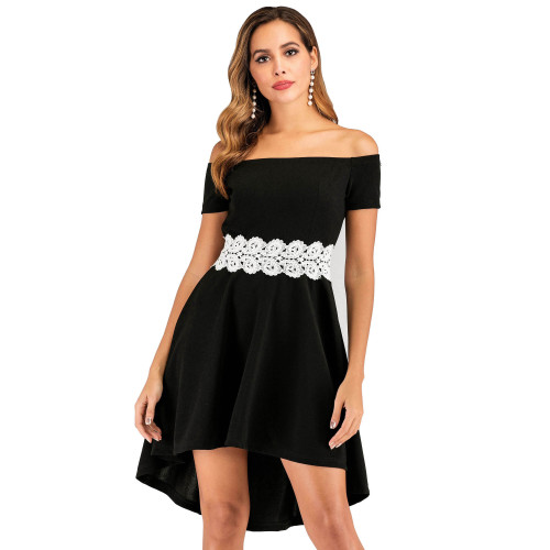 Women's Crochet Waist Off Shoulder High Low Vintage Dress