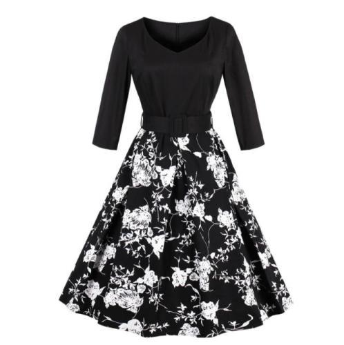 Spring Women Lady Dress 3/4 Sleeve V Neck Elegant Printing Swan Pattern Casual A-Line Expansion Dress Female