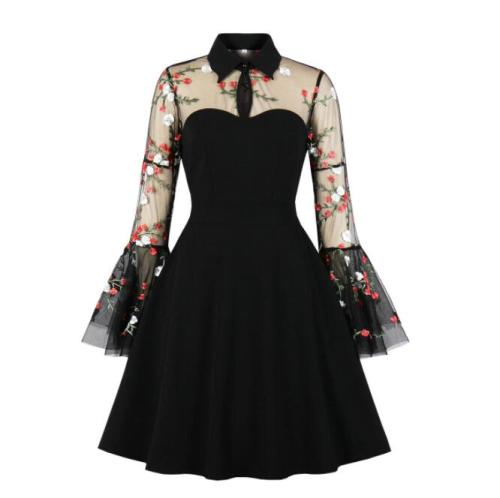 Tonval Floral Embroidered Mesh Long Sleeve Elegant Party Dress Vintage Women Turn-Down Collar Keyhole Black A-Line Mini Dresses