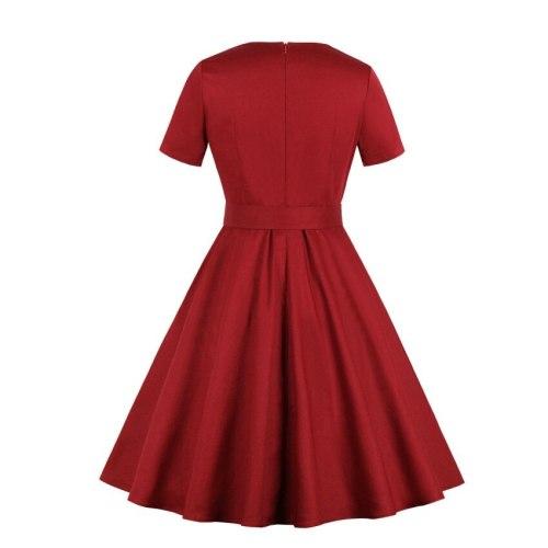 Women Vintage Summer Trumpt Dress 2021 Square Neck Button Zipper Sash Short Sleeve Plus Size Elegant Retro Girl Expansion Dress