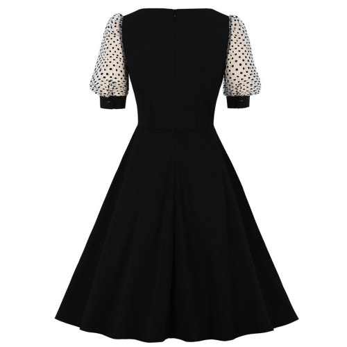 Puff Sleeve Short Black Party Swing Dress 50s 60s Retro Slim Fit Office Sundress V Neck Button Front Gothic Rockabilly Dresses