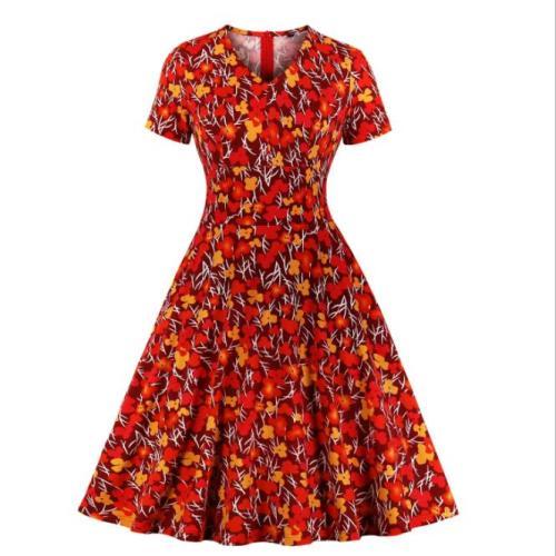 Tonval Multicolor Floral Print High Waist Vintage Pinup A Line Dress Short Sleeve Autumn Women Pocket Elegant Party Dresses