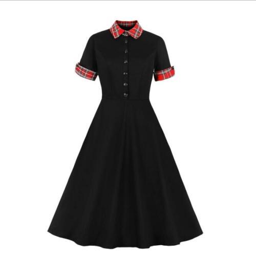 Tonval Contrast Tartan Collar and Cuff 1950s Vintage Black Midi Dress Button Up Elegant Women 95% Cotton Swing Dresses