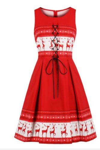 2021 Fashion Christmas Dress Women winter Sleeveless Christmas Deer Vintage Xmas Party Midi Swing Dresses A-Line Plaid vestidos