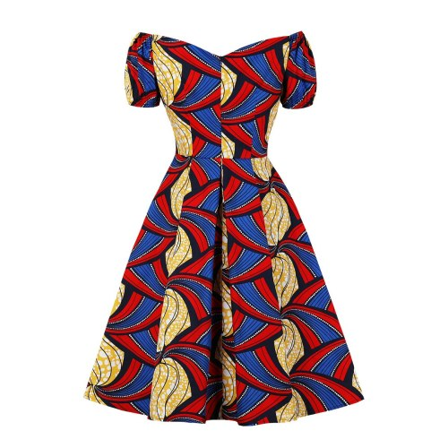 Women's Pleated Bubble Sleeves African Print Off Shoulder Vintage Dress