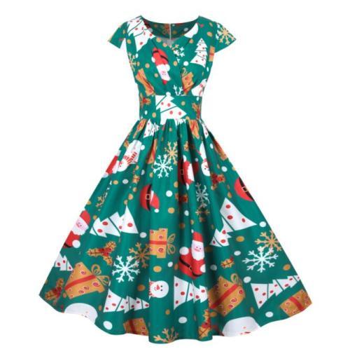 2021 Santa Claus Print Vintage Women Elegant Christmas Party Dress Robe Femme Plus Size 3XL Casual V Neck Winter Midi Vestidos