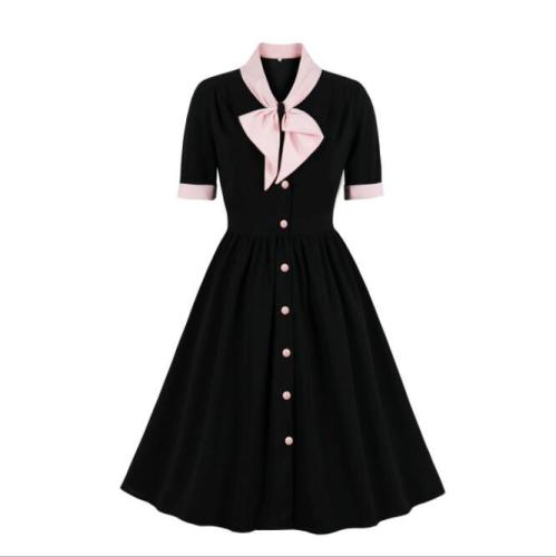Neck Vintage Style Single-Breasted Half Sleeve Fall Clothes for Women Black Knee Length Polyester Dress 2021 Elegant