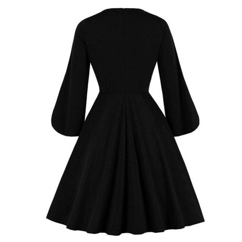 Elegant Female Slit Flare Sleeves Dresses 2021 V Neck Button Up Sexy Dress 40s Vintage Dress 1940s Black Solid Dress Vestidos
